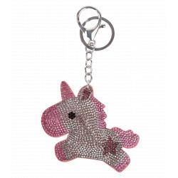 Porte clef poney rose avec strass