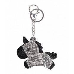 Porte clef licorne noir avec strass
